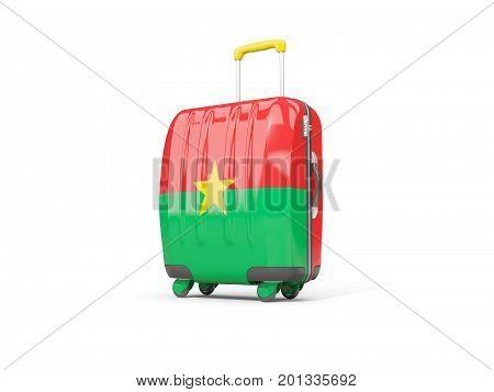 Luggage With Flag Of Burkina Faso. Suitcase Isolated On White