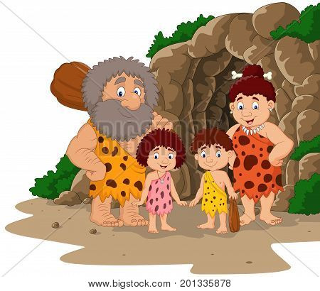 Cartoon caveman family family with cave background