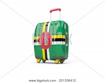 Luggage With Flag Of Dominica. Suitcase Isolated On White