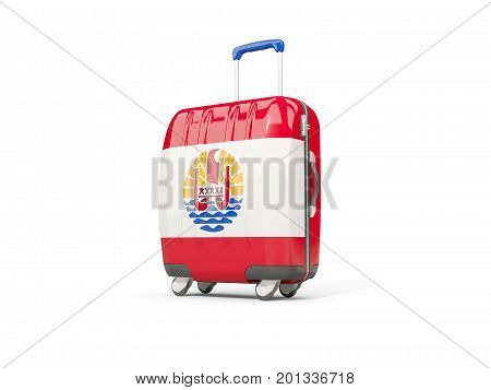Luggage With Flag Of French Polynesia. Suitcase Isolated On White