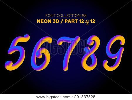 Neon 3D Typeset with Rounded Shapes. Font Set of Painted Numbers. Matte Liquid Purple and Yellow Colors. Night Glow Effect. Tube Alphabet. ABC for DJ Poster Sale Banner Signboard Advertising.