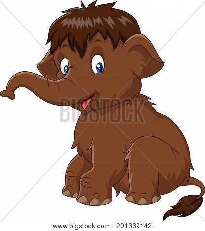Vector illustration of Cartoon baby mammoth sitting