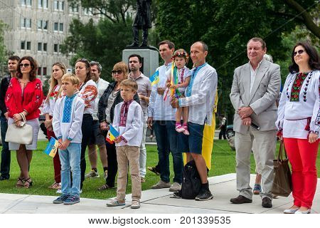 August 24 2017. Toronto Canada - Ceremony of raising the Ukrainian flag during the celebration of the Independence Day of Ukraine near Legislative Assembly of Ontario in Toronto Canada