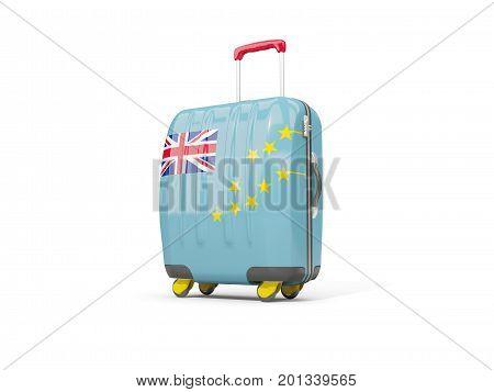 Luggage With Flag Of Tuvalu. Suitcase Isolated On White