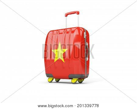 Luggage With Flag Of Vietnam. Suitcase Isolated On White