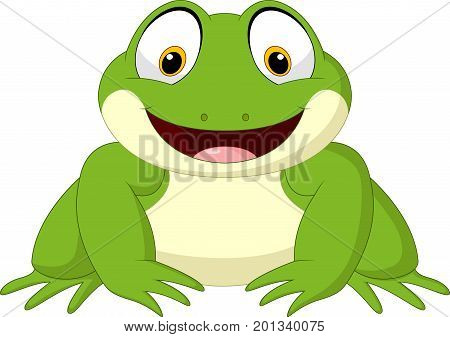 Vector illustration of Cartoon frog isolated on white background