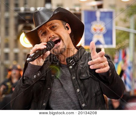 NEW YORK - OCTOBER 23: Country singer Tim McGraw performs at Rockefeller Plaza in New York on October 23, 2009.