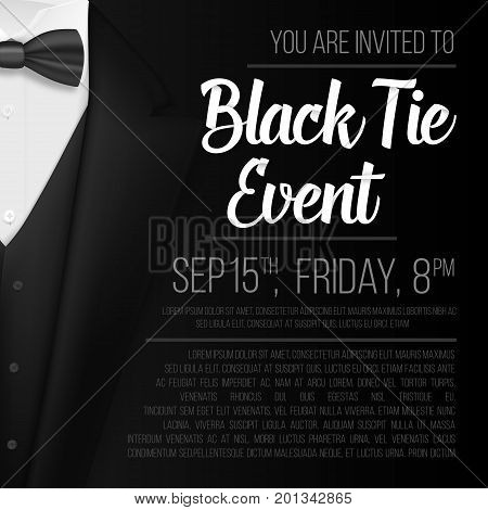 Illustration of Realistic Vector Black Suit. Black Tie Event Invitation Template. Vector Mens Suit with Bow Tie