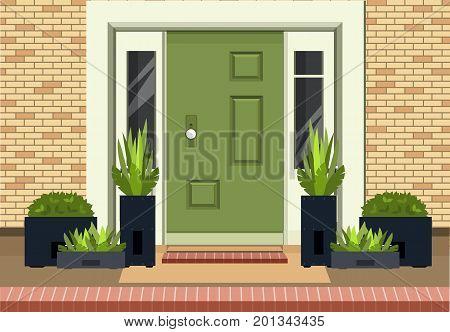 Vector illustration of a facade of a house bricks lining an entrance door to a building a home garden on the doorstep into the building