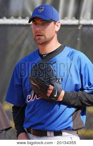 PORT ST. LUCIE, FLORIDA - MARCH 24: New York Mets pitcher Mike Pelfrey during spring training workouts on March 24, 2010 in Port St. Lucie, Fla.