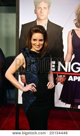 """Actress Tina Fey attends the movie premiere of """"Date Night"""" at the Ziegfeld Theatre on April 6, 2010 in New York City."""