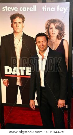 """Actor Hugh Jackman attends the movie premiere of """"Date Night"""" at the Ziegfeld Theatre on April 6, 2010 in New York City."""