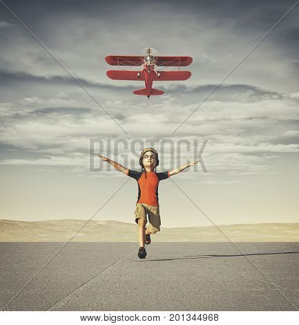 Child with helmet and glasses running track after a plane. This is a 3d render illustration