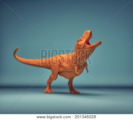 Dinosaur - trex on a blue background. This is a 3d render illustration