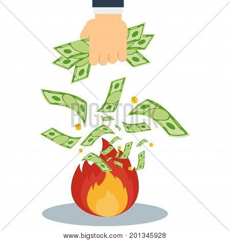 Hand Throws Money Into Fire
