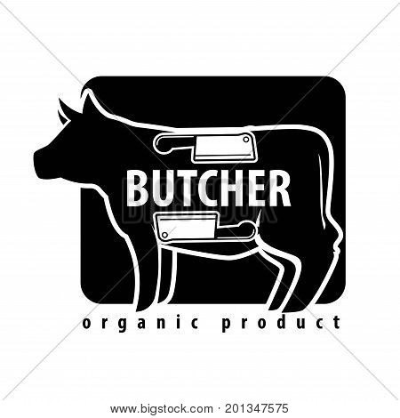 Fresh meat logo template for butcher shop of cow or pork silhouette, cutlery knife and hatchet on cutting board. Vector isolated icon for organic farm butchery or grocery product store