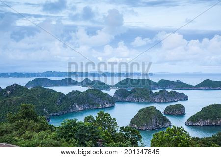 view over the  beautiful limestone rocks of Lan Ha bay from Cat  Ba island, the southern edge of Ha Long bay, Vietnam