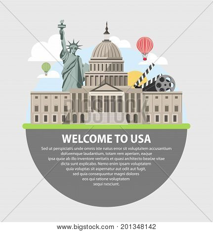Welcome to USA promotional poster with Washington Congress building, tall Liberty statue, black clapperboard, coil with video tape, stripe air balloon, fluffy clouds and big text vector illustration.