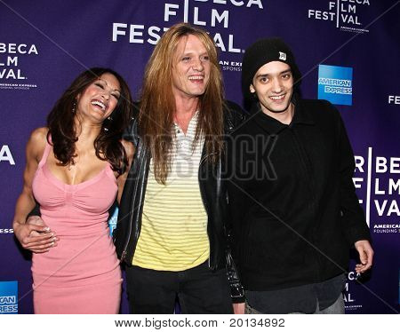 """NEW YORK - APRIL 24: Sebastian Bach, Maria Bierk and son Paris attend """"RUSH: Beyond the Lighted Stage"""" premiere at the 2010 TriBeCa Film Festival at the School of Visual Arts Theater on April 24, 2010 in New York City."""