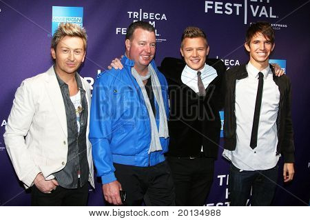 "NEW YORK - APRIL 25: Actor Christopher Egan and friends attend the ""Letters to Juliet"" premiere at School of Visual Arts Theater at the 2010 TriBeCa Film Festival on April 25, 2010 in New York City."