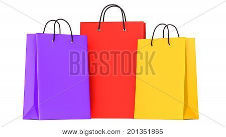 Shopping bags purple red yellow. 3d llustration. 3D render isolated on white background