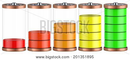 Battery charging. Battery charge level indicators isolated on white. 3d illustration.
