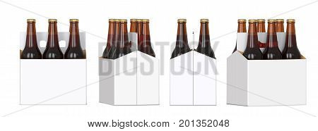 Six brown beer bottles in white corton pack. Four Different views 3D render isolated on white background