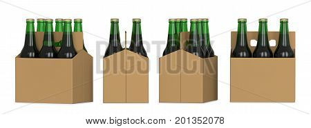 Four views of a six pack of green beer bottles in cardboard box. 3D render isolated on white background