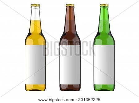 Bottled beer yellow green and brown colors or beverage or carbonated drinks with white label. Studio 3D render isolated on white background