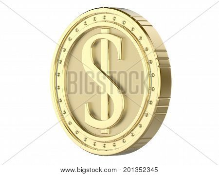 3d gold coin dollar with a picture of a dollar pile. 3D render isolated on white background