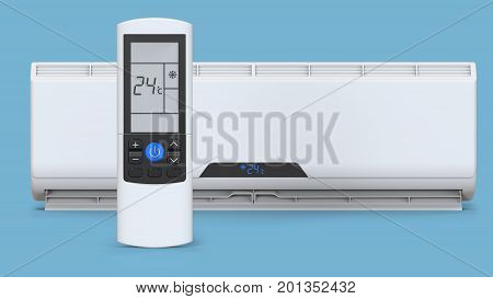Split system air conditioner. Cool and cold climate control system. Realistic conditioning with remote controller. 3D render on blue background