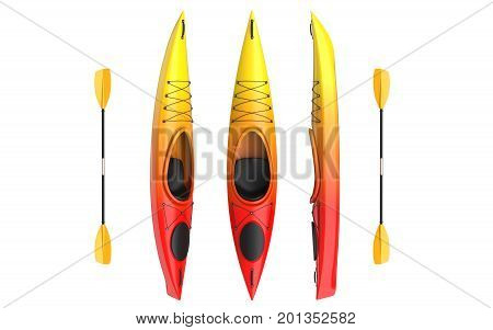 Three vertical views of yellow rad crossover kayak with paddle. Whitewater and river running kayak. 3D render isolated on white background