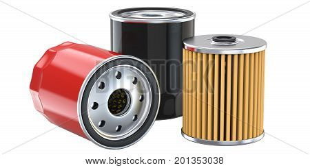 Red and black automobile oil filter.3D render, isolated on white background.