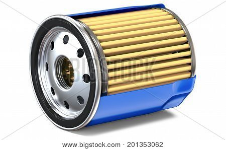 BLUE OIL FILTER HALF CUT. 3D render, isolated on white background.