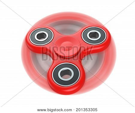 Red fidget finger spinner stress, anxiety relief toy, in motion. 3D render, isolated on white background.
