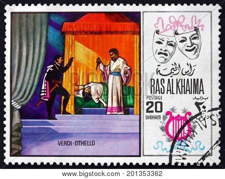 RAS AL-KHAIMAH - CIRCA 1969: a stamp printed in Ras al-Khaimah shows Othelo by Verdi Scene from Opera circa 1969