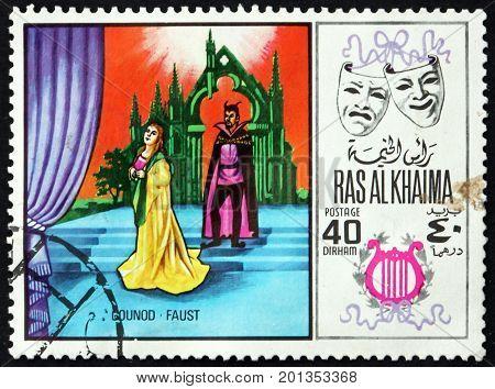 RAS AL-KHAIMAH - CIRCA 1969: a stamp printed in Ras al-Khaimah shows Faust by Charles Gounod Scene from Opera circa 1969
