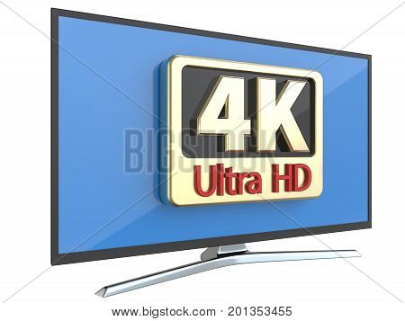 Ultra high definition digital television screen technology concept: 4K UltraHD TV or computer PC monitor display isolated on white background 3d render