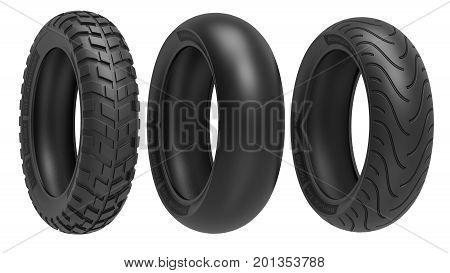 Racing, road and off-road, motorcycle tires. 3d rendering. 3D illustration, isolated on white background
