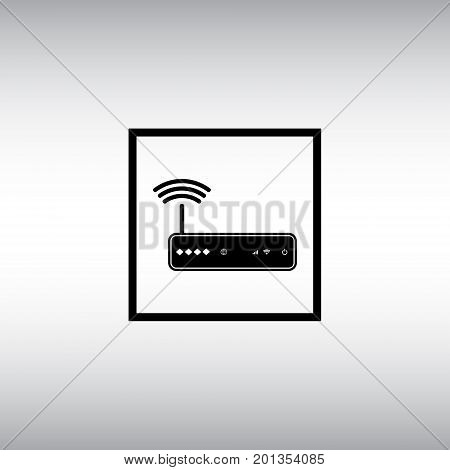 Router flat vector icon. Isolated router vector sign. Wireless network vector symbol. Wi-fi coonection square button.