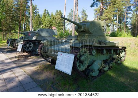 PAROLA, FINLAND - JUNE 10, 2017: The Soviet T-26 tanks captured by the Finnish army during winter war of 1939-1940. The tank museum in the city of Parola