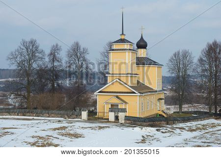 Saint Georgy's church in the estate Trigorsky in the gloomy February afternoon. Voronich, Pushkinskie Gory. Russia