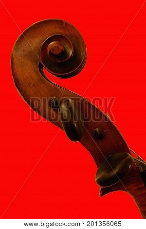 Top of Violoncello on red Background Close-up