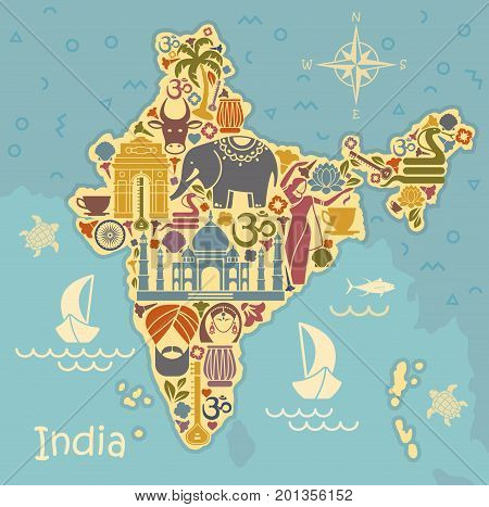 Map of India with icons. Traditional symbols of culture and architecture of India