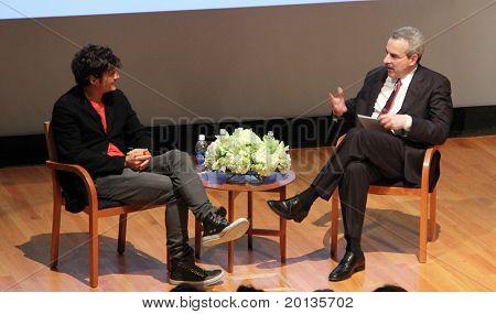 NEW YORK - JUNE 2:  Orlando Bloom speaks at the 2010 Adam Jeffrey Katz Memorial Series Lecture Series at the Rockefeller University on June 2, 2010 in New York City.