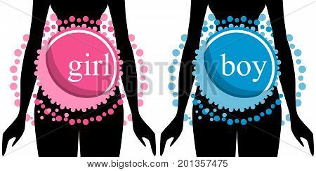 Set of two silhouettes of pregnant women. Boy and girl.