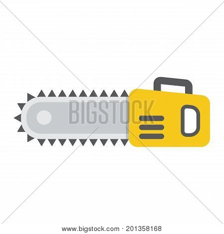 Chainsaw flat icon, build and repair, electric saw sign vector graphics, a colorful solid pattern on a white background, eps 10.