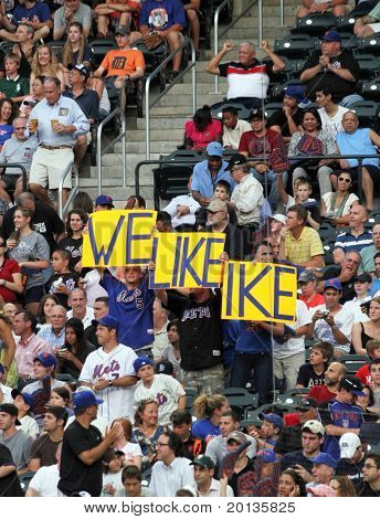 """FLUSHING - JUNE 23: New York Mets fans hold signs that read """"We Like Ike"""" against the Detroit Tigers on June 23, 2010 at Citi Field Park in Flushing, New York."""