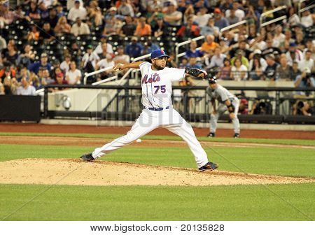 FLUSHING - JUNE 23: New York Mets relief pitcher Francisco Rodriguez throws against the Detroit Tigers on June 23, 2010 at Citi Field Park in Flushing, New York.