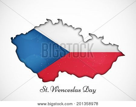 illustration of Czech Republic map in Czech Republic flag background with St. Wenceslas Day text on the occasion of St. Wenceslas Day. St. Wenceslas Day is Celebrated as national day in Czech Republic
